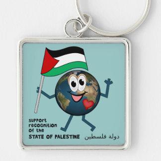 Världserkännande av den palestinska statehooden fyrkantig silverfärgad nyckelring