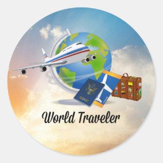 Världshandelsresande, design 2 runt klistermärke