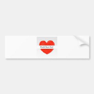Världshjärtadag med en klottrad röd hjärta bildekal