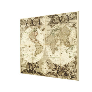 Världskarta 1708 av Jean Baptiste Nolin Canvastryck