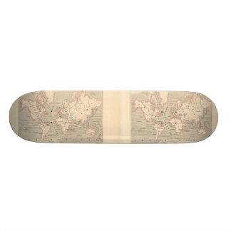 Världskarta 1858: Planisphere - frankrike Skateboard Bräda 20,5 Cm