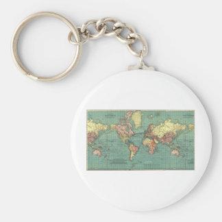 Världskarta 1919 rund nyckelring