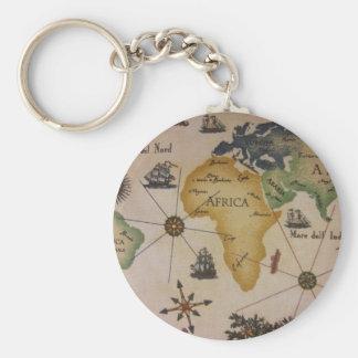 Världskarta - afrika rund nyckelring
