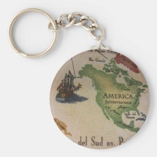 Världskarta - Amerika Rund Nyckelring