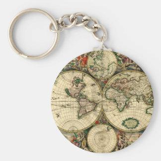 Världskarta av 1689 gåvor rund nyckelring