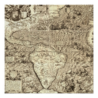 Världskarta av Amerika av Diego Gutiérrez Poster