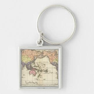 Världskarta av att bekläda stilar fyrkantig silverfärgad nyckelring