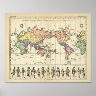 Världskarta av att bekläda stilar poster