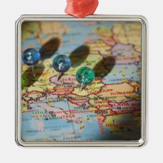 Världskarta, Europa Julgransprydnad Metall