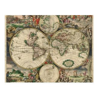 Världskarta från 1689 vykort