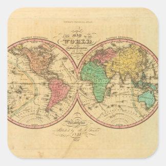 Världskarta från forntid 1 fyrkantigt klistermärke