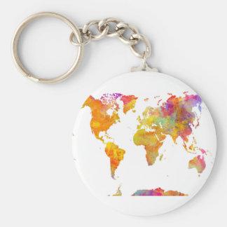 världskarta rund nyckelring