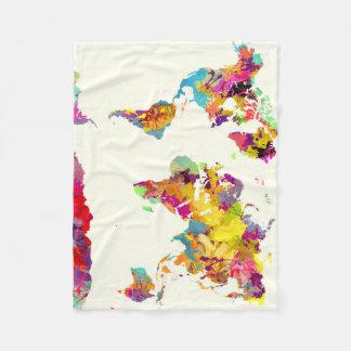 världskartafärger fleecefilt