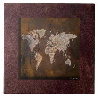 Världskartan belägger med tegel stor kakelplatta