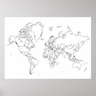Världskartan skisserar affischen poster