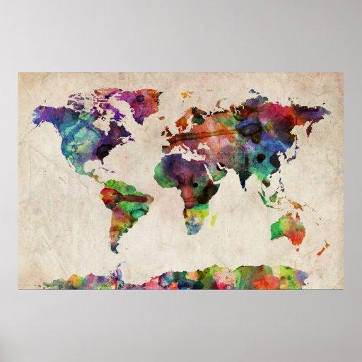 VärldskartaUrban vattenfärg Print
