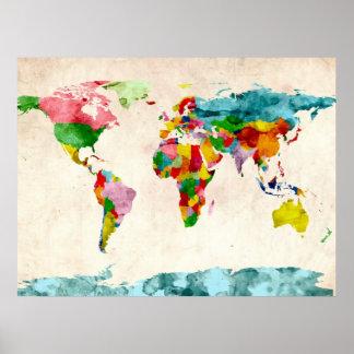 Världskartavattenfärger Posters