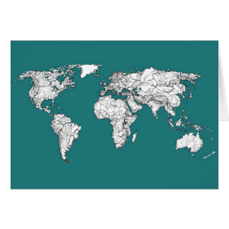 Världskartor i turkos hälsningskort
