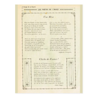 Världskrig mig, Juillet 1915, poesi framifrån Vykort