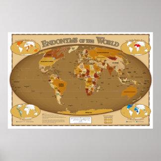 Världsländer i deras lokalspråk (Endonyms) Poster