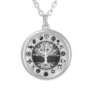 Världsreligionlivets träd silverpläterat halsband