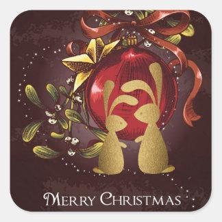 Varm charmig god jul för kaninnMistletoe Fyrkantigt Klistermärke