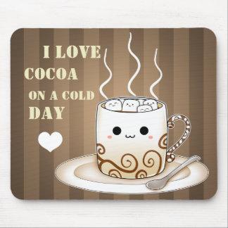 Varm kakaodrink för gullig kawaii musmatta