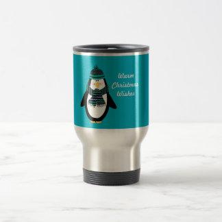 Varm travel mug för julönskemålpingvin resemugg