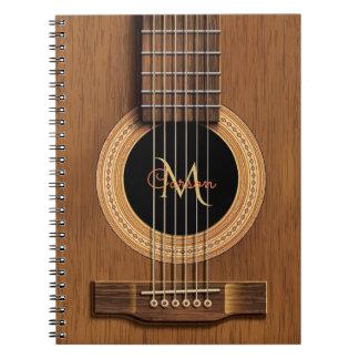 Varm Wood akustisk gitarr Anteckningsbok Med Spiral