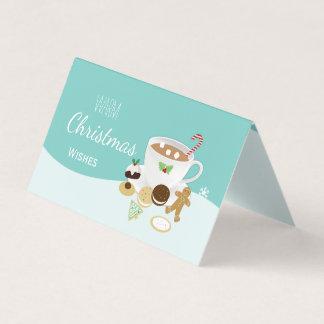 Varma julönskemålkakor och varm choklad kort