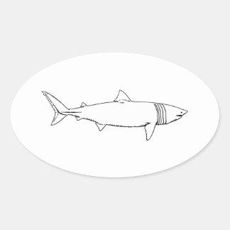 Värma sig hajlogotypen (fodra konst), ovalt klistermärke