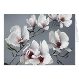 VårMagnoliablommar, mjuk grå färg Hälsningskort