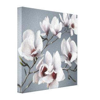VårMagnoliablommar, rosa, mjuka grå färg Canvastryck