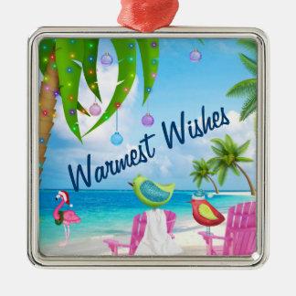 Varmmast önskemål, fåglar, palmträd, strandjul julgransprydnad metall