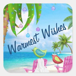 Varmmast strand för önskemålfågel- och julpalmträd fyrkantigt klistermärke