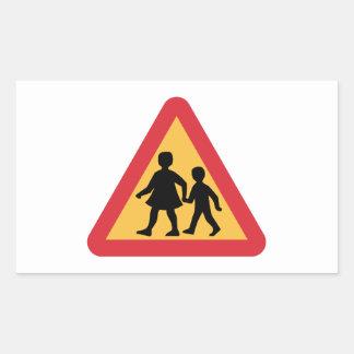 Varna barn, trafikera undertecknar, sverigen rektangulärt klistermärke