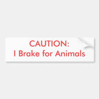 VARNA:  Jag bromsar för djur Bildekal