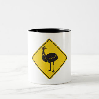 Varna ostrichen, trafikera varning undertecknar, Två-Tonad mugg