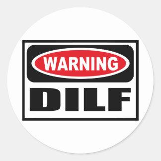 Varnande DILF-klistermärke Runt Klistermärke
