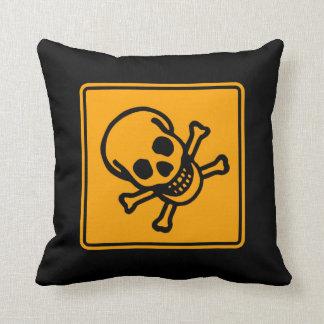 Varning för diamanten för gult för giftdödskallen kudde