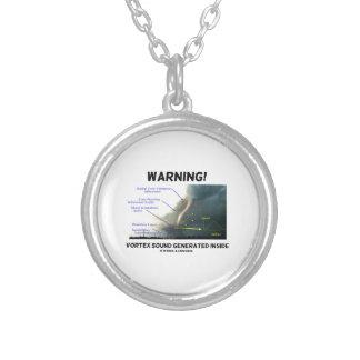 Varning! Frambragd insida för virvel ljud Silverpläterat Halsband