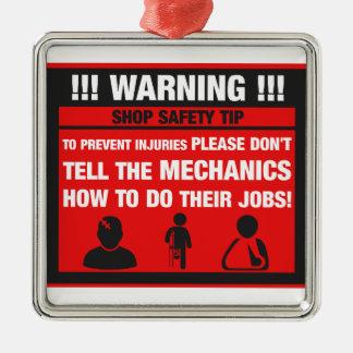 Varning - mekanikern shoppar säkerhetsspetsar julgransprydnad metall
