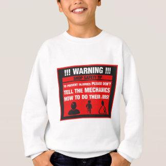 Varning - mekanikern shoppar säkerhetsspetsar tröjor