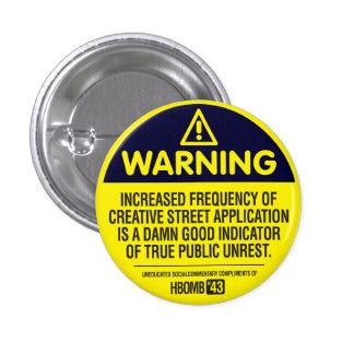 Varning Mini Knapp Rund 3.2 Cm