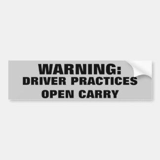 Varningschauffören övar öppet bär bildekal