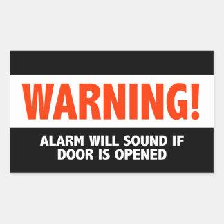 Varningslarmet ska ljud, om dörren öppnas rektangulärt klistermärke
