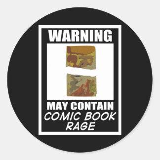 Varningsmaj innehåller humorbokursinne runt klistermärke