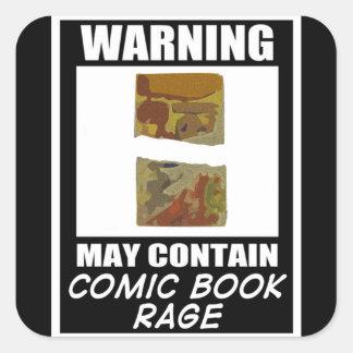 Varningsmaj innehåller humorbokursinne fyrkantigt klistermärke