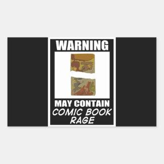 Varningsmaj innehåller humorbokursinne rektangulärt klistermärke