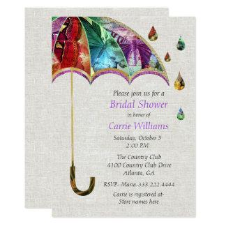 Vårparaplyinbjudningskort för möhippan 12,7 x 17,8 cm inbjudningskort